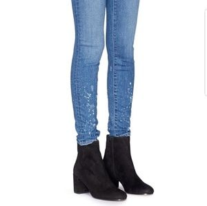 Vince blakley suede stacked heeled boot